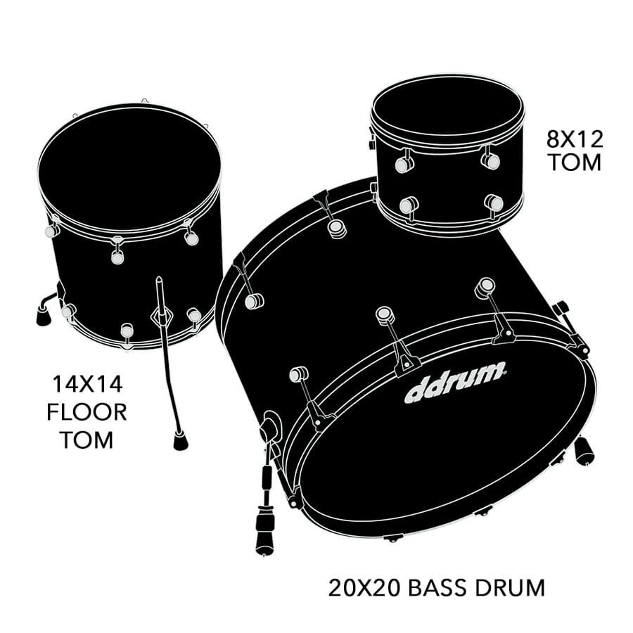 Dios Maple 3pc Satin Black Shell Packx
