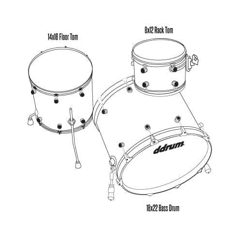 M.A.X 3pc Satin Natural 22 inch bass drum - Shell Pack