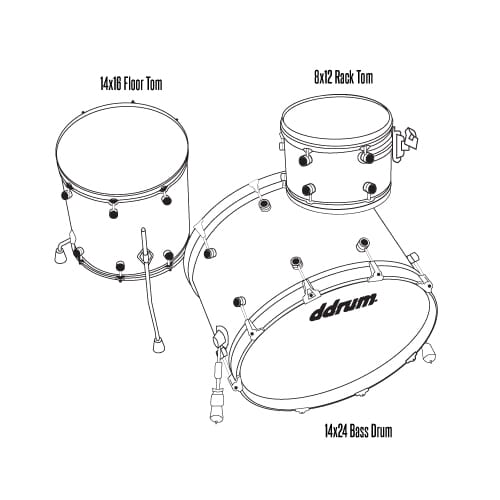 M.A.X 3pc Piano Black 24 inch bass drum - Shell Pack