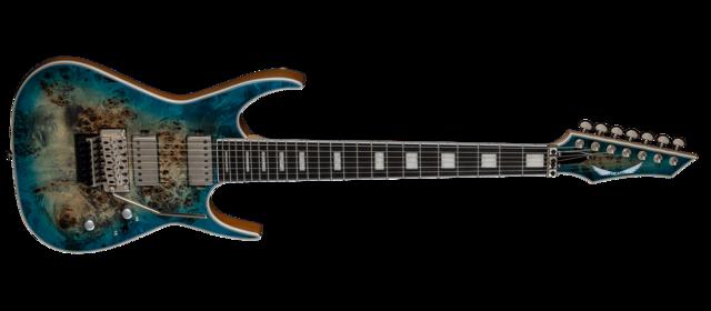 Exile 7 String Floyd Burled Poplar Satin Turquoise Burst