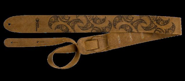 Luna Guitar Strap Leather Tattoo Pattern - Brown